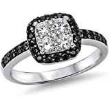 Black & White Cubic Zirconia Fashion Engagment .925 Sterling Silver Ring Sizes 4-12
