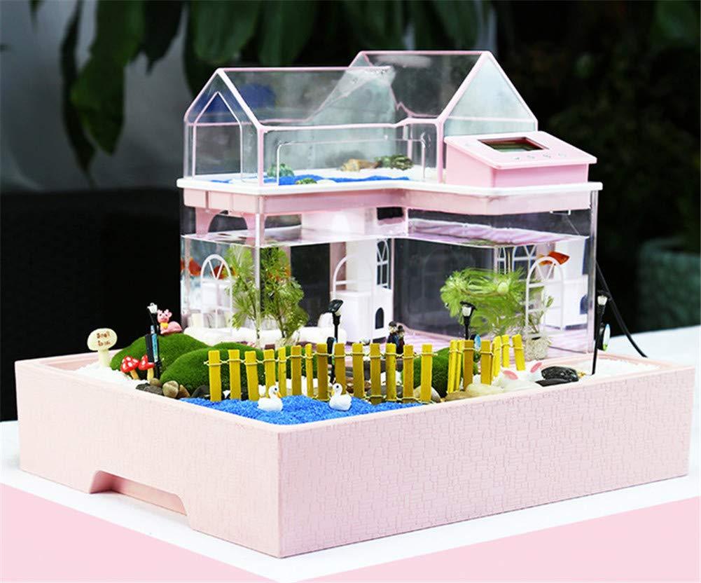 Acryl Mini Micro Landschaft Aquarium Büro Schreibtisch Kleine Persönliche Ökologie Multifunktionale Wohnzimmer Kreative Aquarium USB Powered LED Fisch Tank Lichter