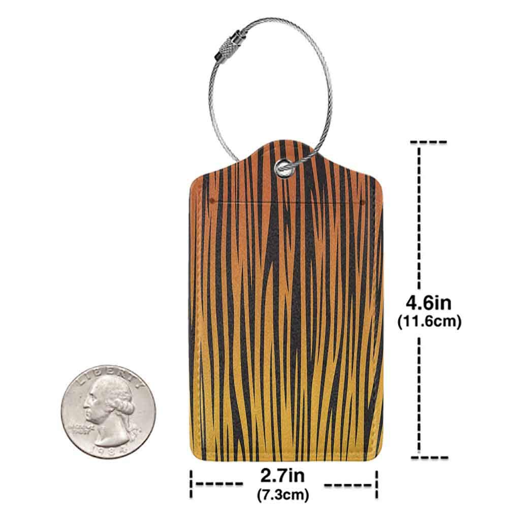 Personalized luggage tag Animal Print Collection Vertical Curvy Lines Stripped Tiger Skin Pattern Artful Design Illustration Easy to carry Orange Black W2.7 x L4.6