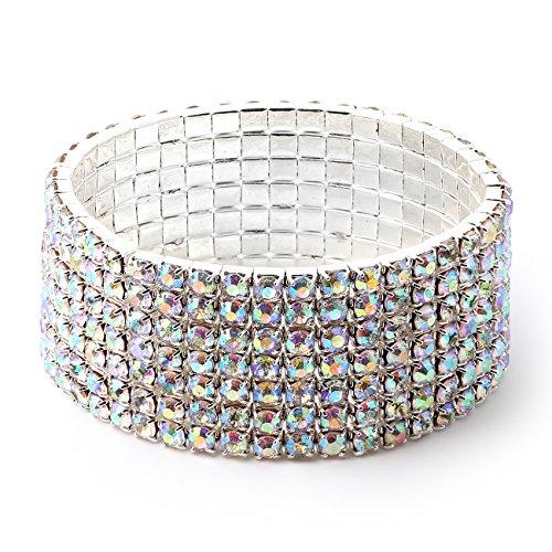 Topwholesalejewel Silver Aurora Borealis Square Rhinestones 7 Strand Stretch Bracelet