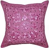 Indian Handmade Silk Embroidery Work Design Mirror Work Single Cotton Cushion