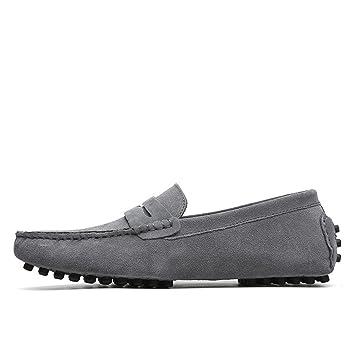 Ruiyue Mocasines de conducción para Hombre Mocasines de Gamuza Genuino de Cuero Mocasines Casuales Zapatos sin Cordones hasta el tamaño 49 EU Mocasines ...