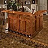 Hillsdale Furniture 62576AXOAK Classic 78″ Large Bar with 12 Wine Bottle Storage Side Bar Foot Rest China Oak and Wood Veneer MDF Construction in Oak
