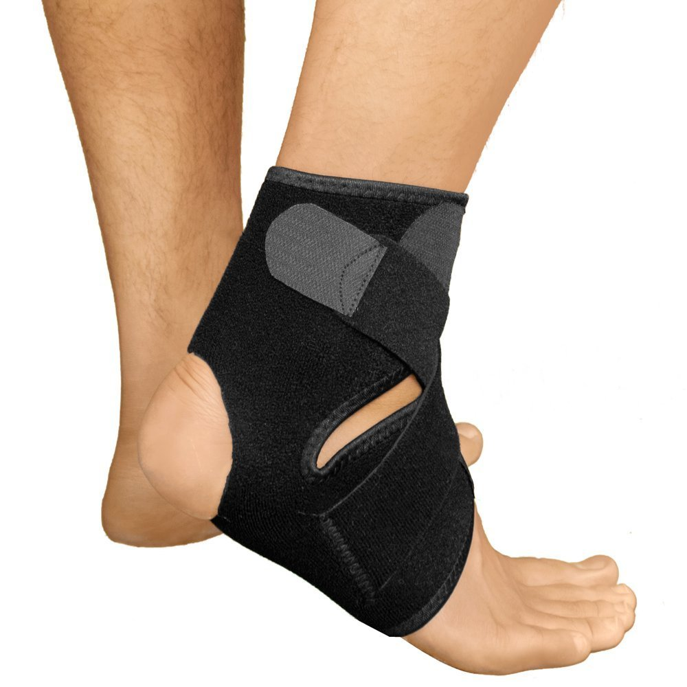 Ankle Brace for Men and Women by RiptGear - Black Adjustable Ankle Brace Support - Size US: Men 10 to 13, Size US: Women 8.5 to 12 (Large)