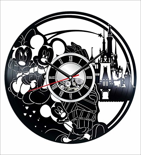 Personalized Holiday Mouse Mickey (Mickey Mouse Wall Clock Made of Vintage Vinyl Records - Stylish clock and Amazing Gifts Idea – Unique Home Decor – Personalized Presents for Men Women Kids – Great for Living Room Bedroom Kitchen)