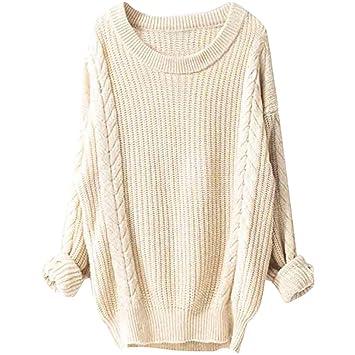 TAOtTAO suéter de Punto de cáñamo, Manga Larga, Cuello ...
