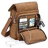 Moore Carden Vintage Multifunction Canvas Shoulder Bag Business Messenger Bag Ipad Bag Tote Bag Satchel Bag (Coffee)