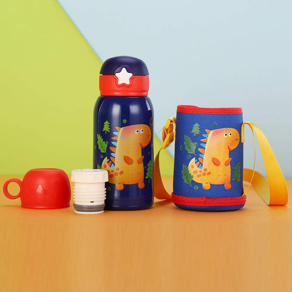 Botella Termo Botella Agua Taza De Aislamiento De Rebote De Estrella Infantil De Acero Inoxidable 316 Con Taza De Agua De Dibujos Animados Lindo De Paja-Pequeño Dinosaurio_500Ml