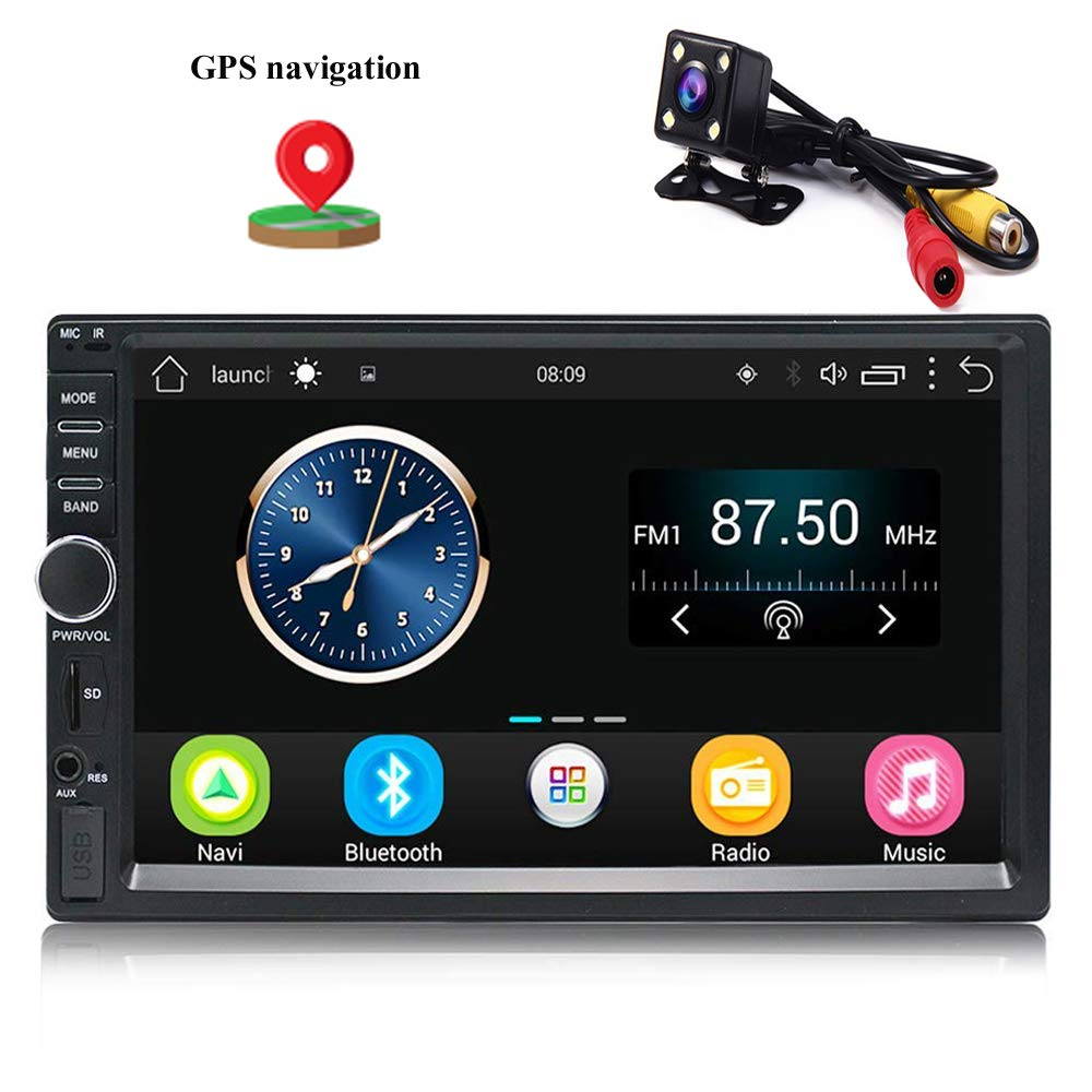 Camecho Double Din Android Car Radio Stereo GPS Navigation Bluetooth Touch Screen Car Audio Player Autoradio USB SD FM Player +4 LED Backup Camera