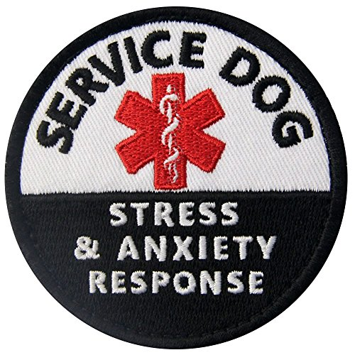 Service Dog Stress Stress & Anxiety Response Vests/Harnesses Emblem Embroidered Fastener Hook & Loop Patch