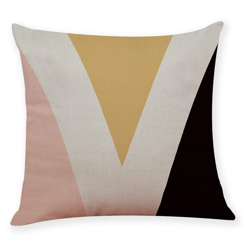 Pgojuni Cotton Linen Letter Printing Square Home Decorative Throw Pillow Case Sofa Waist Cushion Cover 1pc