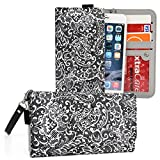 Kroo Universal Girls Phone Wallet with Bonus Wrist-let for Samsung Galaxy S7 Active, Galaxy S7 Edge, Galaxy S6, S6 Active, Galaxy S6 Edge, Galaxy S5 S5 Plus, Pitch Black Paisley