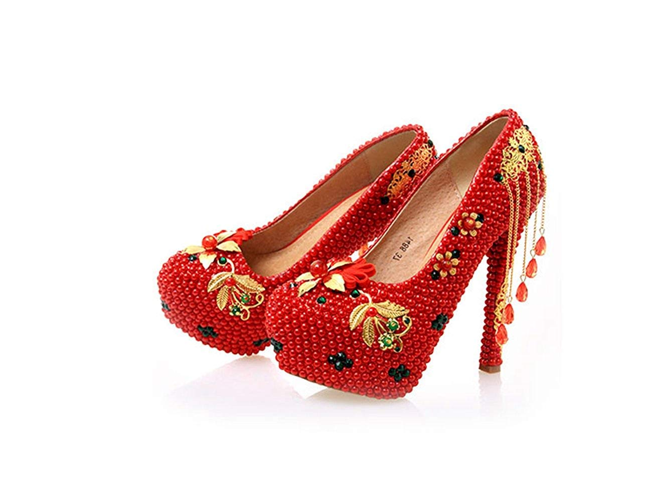 Qiusa Damen versteckte hohe Plattform Ketten Hochzeit Abendschuhe (Farbe     rot-14cm Heel Größe   3.5 UK) 04a30d