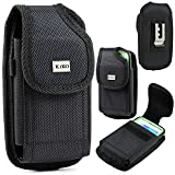 XXL SIZE Samsung Galaxy S6, S6 Edge, S5, HTC ONE M9 ,M8S, M8 Premium Vertical Nylon Belt Clip Holster Pouch Case Cover (Fits phone with OTTER BOX Defender / LIFEPROOF /Extended Battery or Thick Case