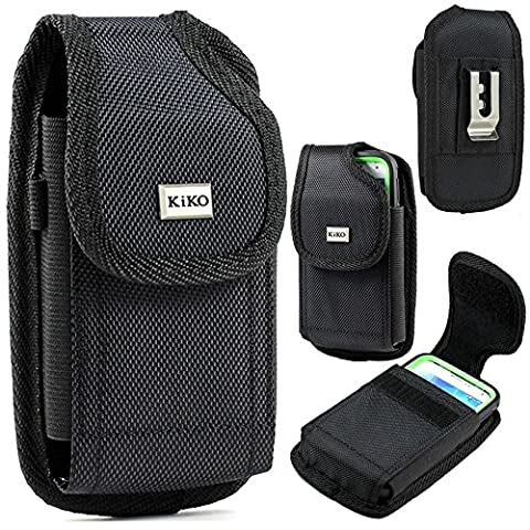 XXL SIZE Apple iPhone 5S, 5C, 5, iPhone 4S Vertical Nylon Belt Clip Holster Pouch Case Cover (Fits OTTER BOX Defender / LIFEPROOF / Mophie Juice Pack Air/Plus Case On) - Iphone Vertical Case