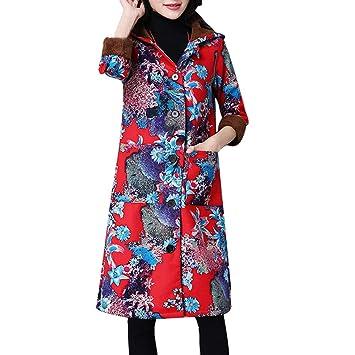 LILICAT® Camisa étnica de Manga Larga de Gran tamaño, Chaqueta de algodón Acolchada con
