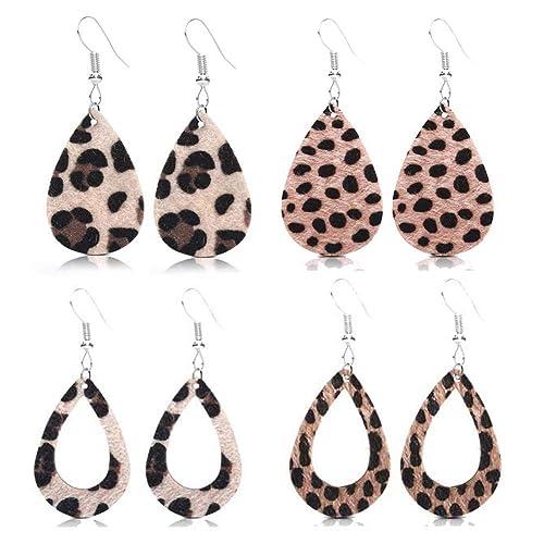 Leopard Print Leather Earrings Dangle Hook Earrings Leather Teardrop Earrings Leather Earrings For Women