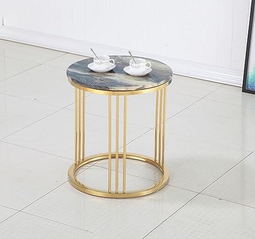 Entzuckend Amazon.de: CB Marmor Kleine Runde Tisch Kreative Wohnzimmer Goldene  Couchtisch Sofa Tisch Ecke Ein