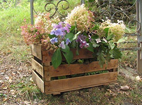 Caja de fruta antigua, jardinera de madera 50x30x27 cm VINTAGEBOX, color natural: Amazon.es: Jardín