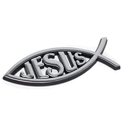 Dicksons Jesus Fish Cross Silver Color Weatherproof Guaranteed Auto Emblem: Automotive