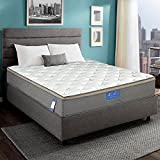 Luxury Innerspring Mattress - 12 Inch Euro Top Medium Soft / Hybrid Gel Memory Foam / 825 sets Individual Wrapped Spring with Ergonomic Structure Design [10 Years Warranty] (Memory Foam Pillow)