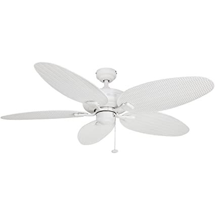 Honeywell Duvall 52 Inch Tropical Ceiling Fan, Five Wet Rated Wicker  Blades, Indoor