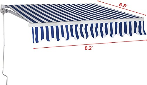 WALLER PAA 8.2 X6.5 Manual Patio Canopy Retractable Deck Awning Sunshade Shelter Outdoor