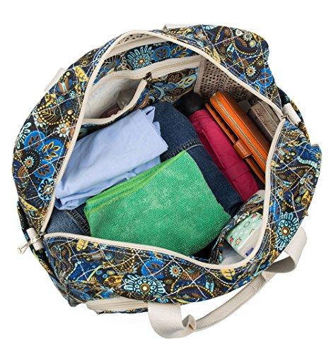 Malirona Canvas Overnight Bag Women Weekender Bag Carry On Travel Duffel Bag Floral (Black Flower) by Malirona (Image #5)