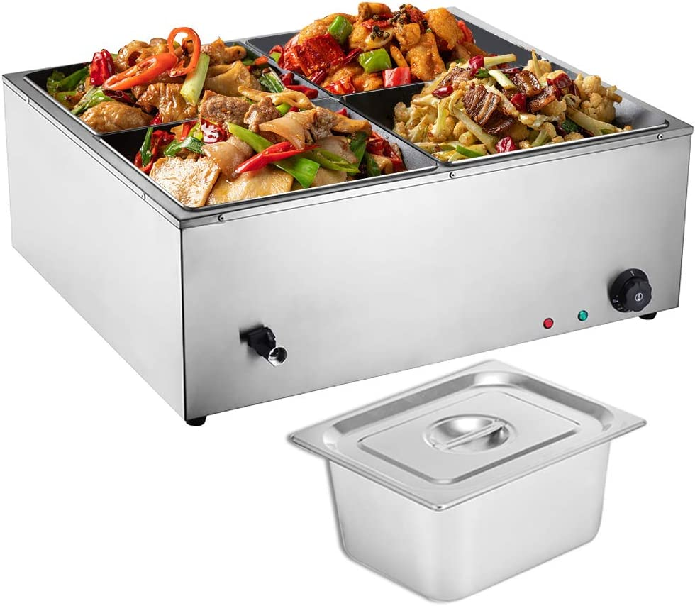 ZXMOTO 4 Pan Commercial Food Warmer 110V Stainless Steel Electric Bain Marie Buffet Food Warmer 44 Quart Countertop Steam Table for Catering and Restaurant