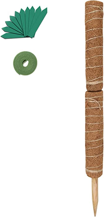 GROWNEER 24 Inches Coir Totem Pole with 15 Pcs Plant Labels and 78 Inch Garden Ties, Coir Moss Totem Pole Coir Moss Stick for Plant Support Extension, Climbing Indoor Plants, Creepers