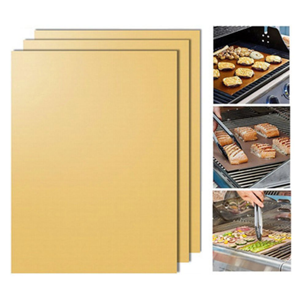 ARTSTORE Set of 5 Non Stick Reusable BBQ Grilling Baking Mat for Gas,Charcoal,Electric Barbecue Grill with Silicone Oil Brush,Gold