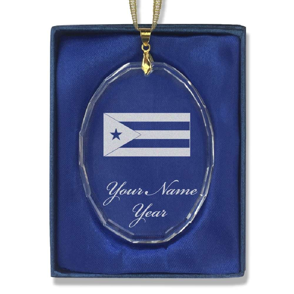 Oval Crystal Christmas Ornament - Flag of Cuba - Personalized Engraving Included