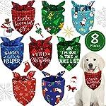 8 Pieces Christmas Dog Bandanas Pet Bandanas Snowman Snowflake Pet Kerchief Triangle Dog Scarf Adjustable Washable Dog…