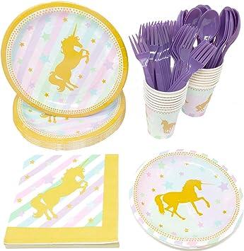 Amazon.com: dorado Unicorn estándar paquetes de fiesta (65 + ...