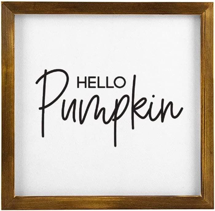 43LenaJon Hello Pumpkin Hey There Pumpkin Rustic Wood Wall Sign,Hanging Wood Sign,Quote Saying Words Sign Decor for Garden,Personalized Text Wooden Farmhouse Label