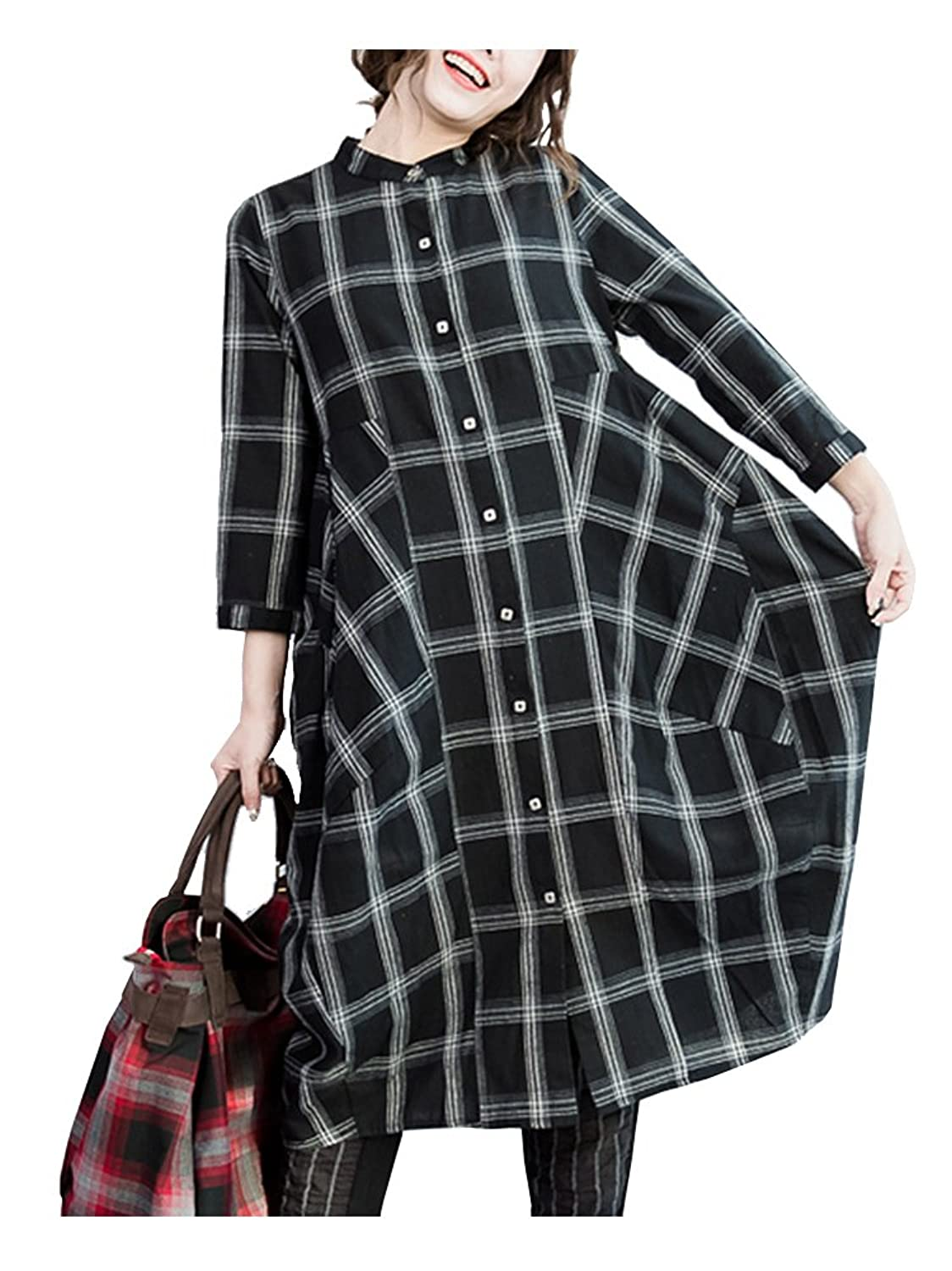 Dinier Women Cotton Linen Loose Checkered Oversized Shirts Dress