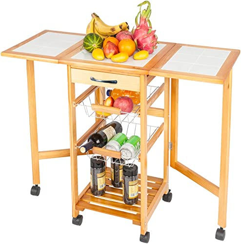 Binrrio Folding Trolley Kitchen Storage Cart on Wheels Rolling Wood Utility Cart
