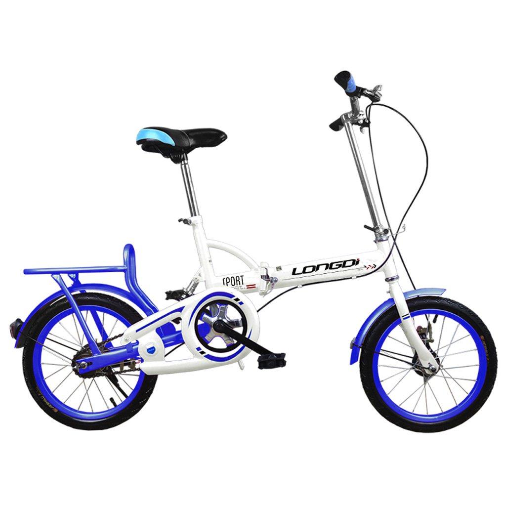 子供用自転車16インチ子供用自転車高炭素鋼折りたたみ自転車4-7歳の男性と女性の自転車、黒/ピンク/白青 (Color : White and blue) B07CYJRQ8Y