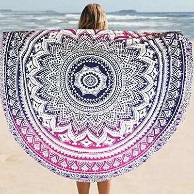 Hippie Mandala de pavo real Fader color redondo algodón Tippet ...