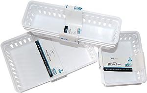FriendShip Shop Plastic Storage Trays Baskets Organization Bundle, 3 Sizes (lk658)