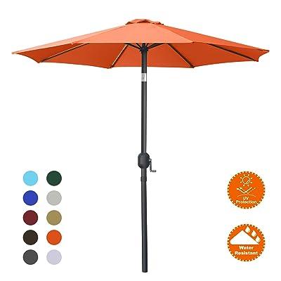 MASTERCANOPY Patio Umbrella Outdoor Fe-Al Market Table Umbrella with 8 Sturdy Ribs (7.5FT, Orange) : Garden & Outdoor