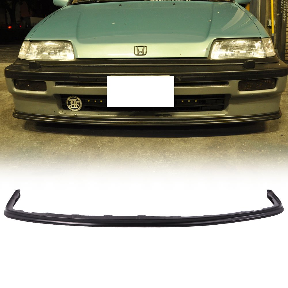 Factory Style PU Black Front Lip Spoiler Splitter by IKON MOTORSPORTS 1989 1990 Front Bumper Lip Compatible With 1988-1991 Honda Civic