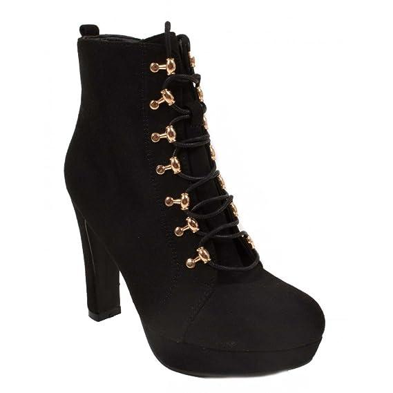 à lacets femme talon Bottines Primtex noir forme boots à CBoedWrx