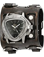 Nemesis Mens 928FWB-S Silver Dragon Series Black Watch With Wide Faded Leather Cuff Band