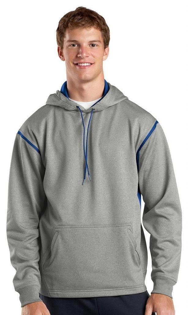 Sport-Tek Men's Tall Tech Fleece Colorblock 3XLT Grey Heather/True Royal by Sport-Tek