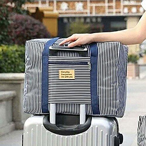 Foldable Travel Bag Waterproof Travel Duffel Bag,Women Ladies Man Canvas Weekender Bag Overnight Carry-on Tote Duffel in Trolley Handle (BLUE (Luggage Flight Bag)