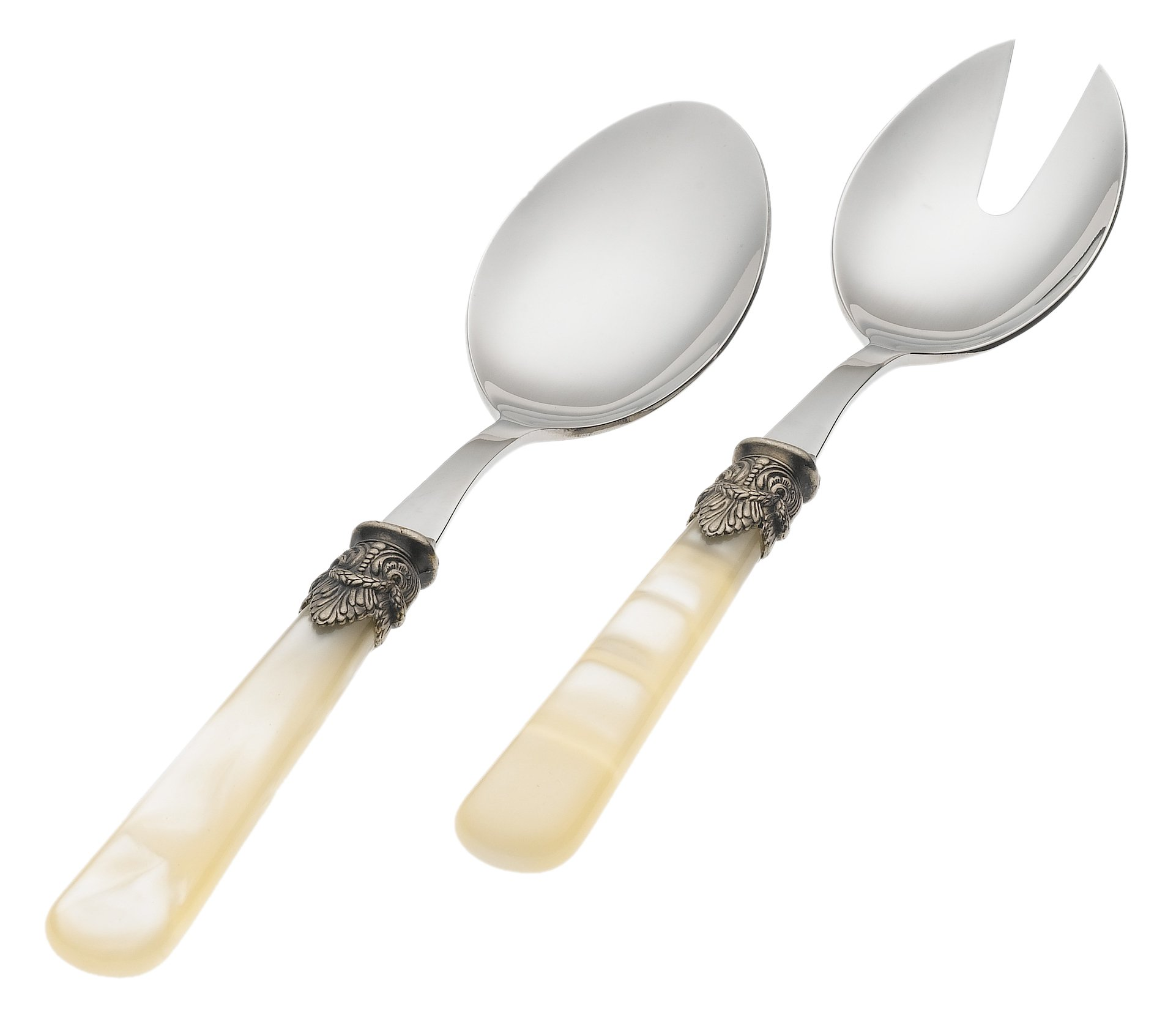 Rosanna Pearlized Ivory Napoleon 2-Piece Salad Tong Set by Rosanna