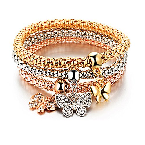 Style Stretch Bracelets with Crystal Decoration Gem and Geometric Elastic Corn Chain Tri - color 3 piece kits for Holiday Happy Party Play with Friends ()