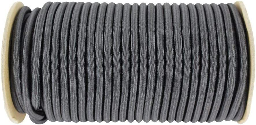 50 feet - Black Weather Resistant Marine Grade Dacron Polyester Bungee 100/% Stretch Commercial DIY Projects UV Tie Downs SGT KNOTS Shock Cord 1//4 inch Moisture Indoor Outdoor