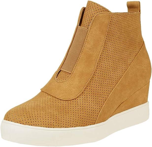 3b978e9f442c0 Amazon.com | LAICIGO Womens High Top Hidden High Heel Wedge Sneakers ...